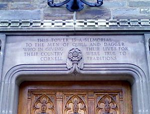 Inscription_above_entrance_to_Quill_and_Dagger_Tower,_Cornell_University